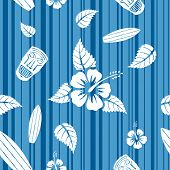 stock photo of tiki  - Vector seamless Hawaiian pattern with hibiscus flowers - JPG