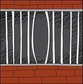 stock photo of stockade  - Cartoon zoo cage with bent iron bars - JPG