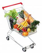 stock photo of trolley  - filled shopping trolley grocery trolley filled with food isolated image on white background - JPG