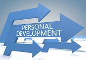 pic of self assessment  - Personal Development 3d render concept with blue arrows on a bluegrey background - JPG