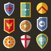 pic of spartan  - Flat icons with different shields for game - JPG