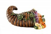 picture of cornucopia  - A Thanksgiving cornucopia against a white background - JPG