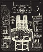 picture of notre dame  - Cover for a menu with Parisian cafes and Notre Dame de Paris - JPG
