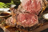 stock photo of ribs  - Homemade Grass Fed Prime Rib Roast with Herbs and Spices - JPG