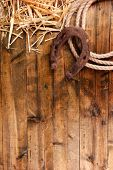 image of horseshoe  - American West still life with old horseshoe and cowboy lasso - JPG