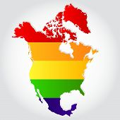 foto of bisexual  - Lgbt flag in contour of North America with light grey background - JPG
