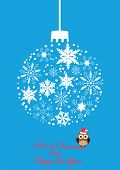 stock photo of snow owl  - vector illustration of a snow ball and owl in Santa hat - JPG