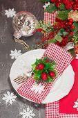 image of christmas dinner  - Christmas table place setting with Christmas decorations - JPG