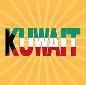 image of kuwait  - Kuwait flag text with sunburst vector illustration - JPG