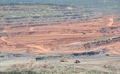 picture of open-pit mine  - open pit mining of coal and working machinery - JPG