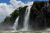 picture of wonderful  - the magnificent iguazu falls one of the seven natural wonders of the world between Argentina and Brasil - JPG