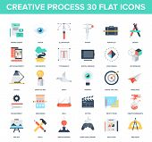 picture of process  - Abstract vector set of colorful flat creative process icons - JPG