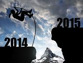picture of new year 2014  - Girl jumps to the New Year 2015 - JPG