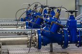 image of valves  - Water pumping station with booster pump control valves - JPG