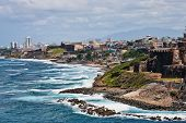 pic of san juan puerto rico  - The rocky coast of Puerto Rico at El Morro - JPG