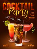 picture of alcoholic drinks  - Cocktail party poster with alcohol drinks in glasses on dark background vector illustration - JPG