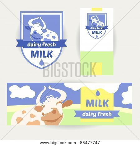 Постер, плакат: A set of promotional items for dairy products Logo banner the, холст на подрамнике