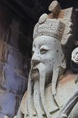 image of guardian  - Closeup Chinese Guardian Statue at Buddhist Temple Watpho in Bangkok Thailand