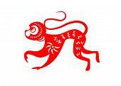 foto of paper cut out  - Red paper cut a monkey zodiac symbols - JPG