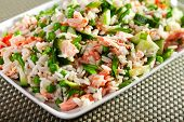 picture of pea  - Rice salad with salmon cucumbers peas and spring onion one portion - JPG