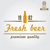 stock photo of brew  - Vintage logo or logotype design element for beer - JPG