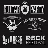 Set of vintage logo, badge, emblem or logotype elements for musical performance, rock festival or gu poster