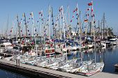 stock photo of dock  - Colorful flags on boats docked at the Long Beach - JPG