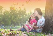 picture of lap  - Asian family Girls in cheongsam sitting on mother - JPG
