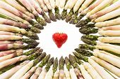 picture of spears  - Many green asparagus spears arranged to form a circle - JPG