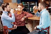 picture of mans-best-friend  - Meeting with the best friends. Three happy young men in casual wear drinking beer while sitting in bar together ** Note: Shallow depth of field - JPG