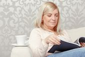 image of close-up middle-aged woman  - Home relaxation - JPG