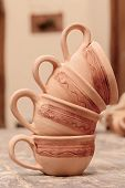 picture of molding clay  - Beautiful clay cups - JPG