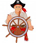 picture of pirate ship  - Pirate at the wheel of his ship - JPG