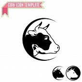 stock photo of meat icon  - Cow head silhouette vector design template - JPG