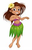 image of hawaiian girl  - Cute cartoon dancing Hawaiian girl - JPG
