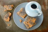 image of crisps  - Delicious crisp bread and old ceramic pitcher on a plate  - JPG