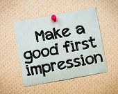 stock photo of recycled paper  - Make a first good impression Message - JPG