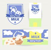 Постер, плакат: A set of promotional items for dairy products Logo banner the