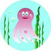 stock photo of jellyfish  - Vector illustration of funny jellyfish green algae - JPG