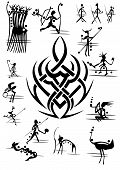 picture of hunter  - silhouette picture abstract cave hunters and ancient god idol from pattern - JPG