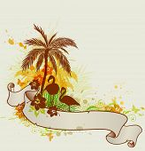 stock photo of flamingo  - Summer tropical background with palms and flamingo - JPG