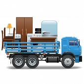 foto of trucks  - Moving concept with truck and home furniture - JPG
