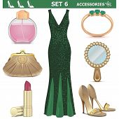 foto of clutch  - Female Accessories Set 6 including green dress - JPG