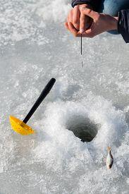 picture of ice fishing  - Winter fishing - JPG