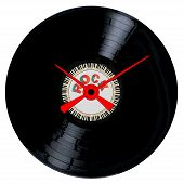 pic of lp  - A typical LP vinyl record with the legend ROCK and a circle of piano keys all over a white background with the hands of a clock - JPG
