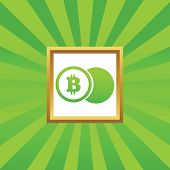 stock photo of bitcoin  - Image of coin with bitcoin symbol in golden frame - JPG