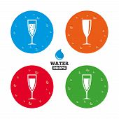 stock photo of sparkling wine  - Water drops on button - JPG