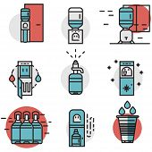 pic of boiling water  - Flat line design blue and red vector icons for water cooler machine and supplies - JPG