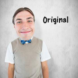stock photo of nerds  - Nerd smiling against white background - JPG