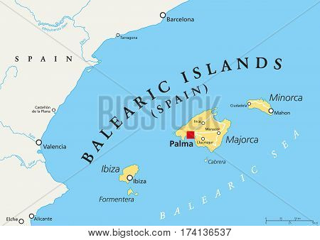 Mediterranean Political Map.Balearic Islands Political Map With Capital Palma Archipelago Of